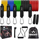 Whatafit Resistance Bands Set (11pcs), Exercise Bands with Door Anchor, Handles, Waterproof Carry Bag, Legs Ankle Straps…