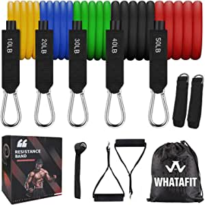 Whatafit Whatafit Workout Bands Exercise Bands with Door Anchor, Handles, Ankle Straps for Resistance Training, Physical Therapy, Home Workouts, Whatafit, 1