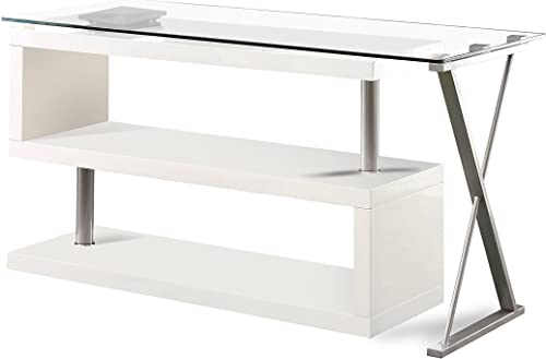 Furniture of America Homes: Inside Out ioHOMES Lilliana White S-Shaped Glass-Top Office Desk