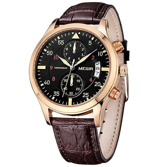 MEGIR Relojes Elegante Hombre Oro rosa Analogico de cuarzo, correa clasico de piel marron,