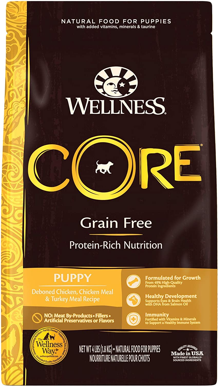Wellness CORE Natural Dry Grain Free Puppy Food, Chicken & Turkey, 26-Pound Bag