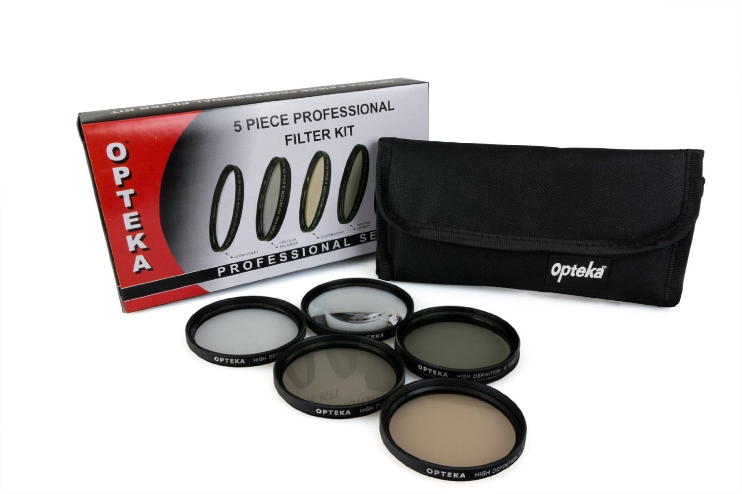 Opteka 58mm High Definition Professional 5 Piece Filter Kit includes UV, CPL, FL, ND4 and 10x Macro Lens OPT5PCFLTKT58