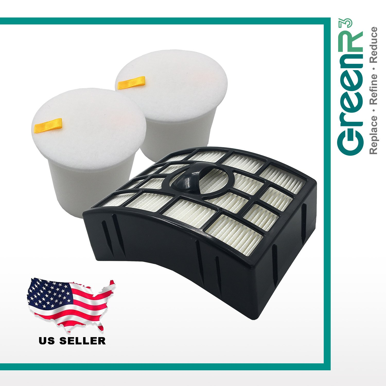 GreenR3 1 SET KIT Air Filters HEPA for SHARK XHF650 & Pre-Motor XFF750 Fits NV755 NV750 NV795 Model Series Parts Replenishment PN replacement and more Compatible