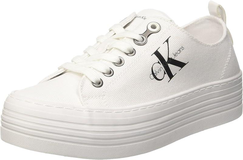 Calvin Klein Jeans Zolah Canvas Sneaker Damen Elfenbein White Weiß