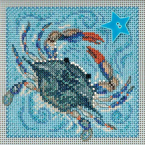 Crab Beaded Counted Cross Stitch Kit Mill Hill 2018 Buttons  Beads Spring MH141811