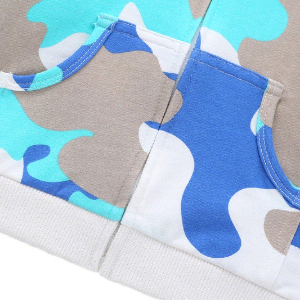 Brightup Baby Kids Boys Zip Front Jacket Hoodie Sweatshirt,Little Boy Camouflage Printed Hoodie Cotton Cardigan