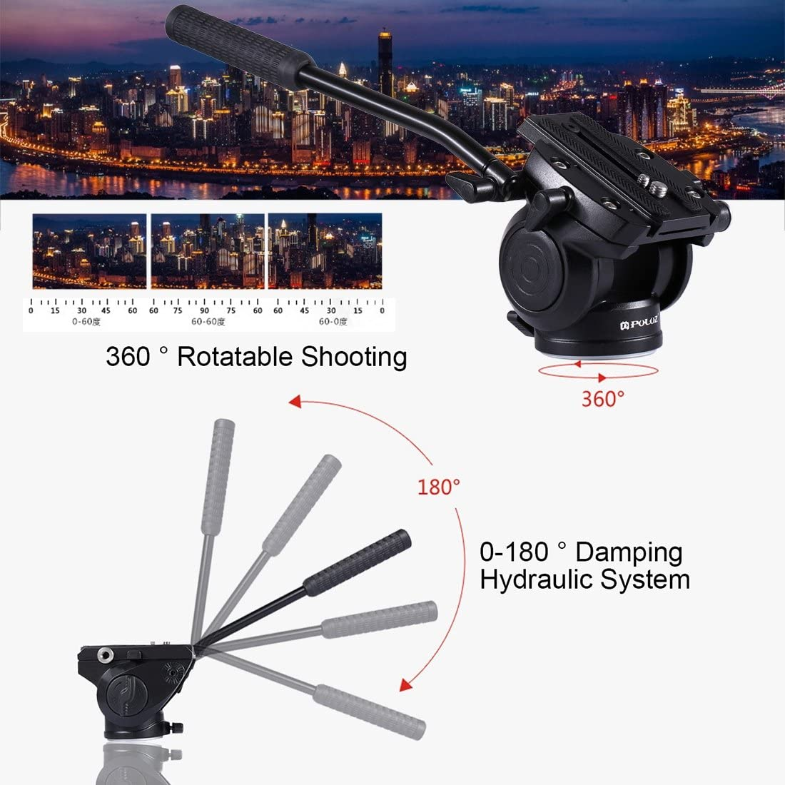 Color : Black Small Size Black Asm Heavy Duty Video Camera Tripod Action Fluid Drag Head with Sliding Plate for DSLR /& SLR Cameras YAM