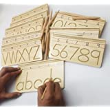 GoAppuGo Capital and Small Alphabet and Number Writing Practice boards - Wooden Educational toys for kids 3 years or 2 or 4 years old, Learning Wooden toys for Toddlers
