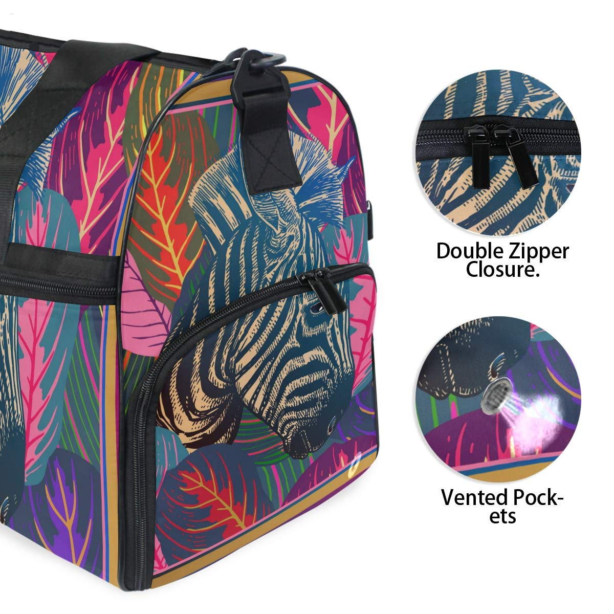 Travel Duffel Bag African Zebra And Tropical Leaves Waterproof Lightweight Luggage bag for Sports Vacation Gym