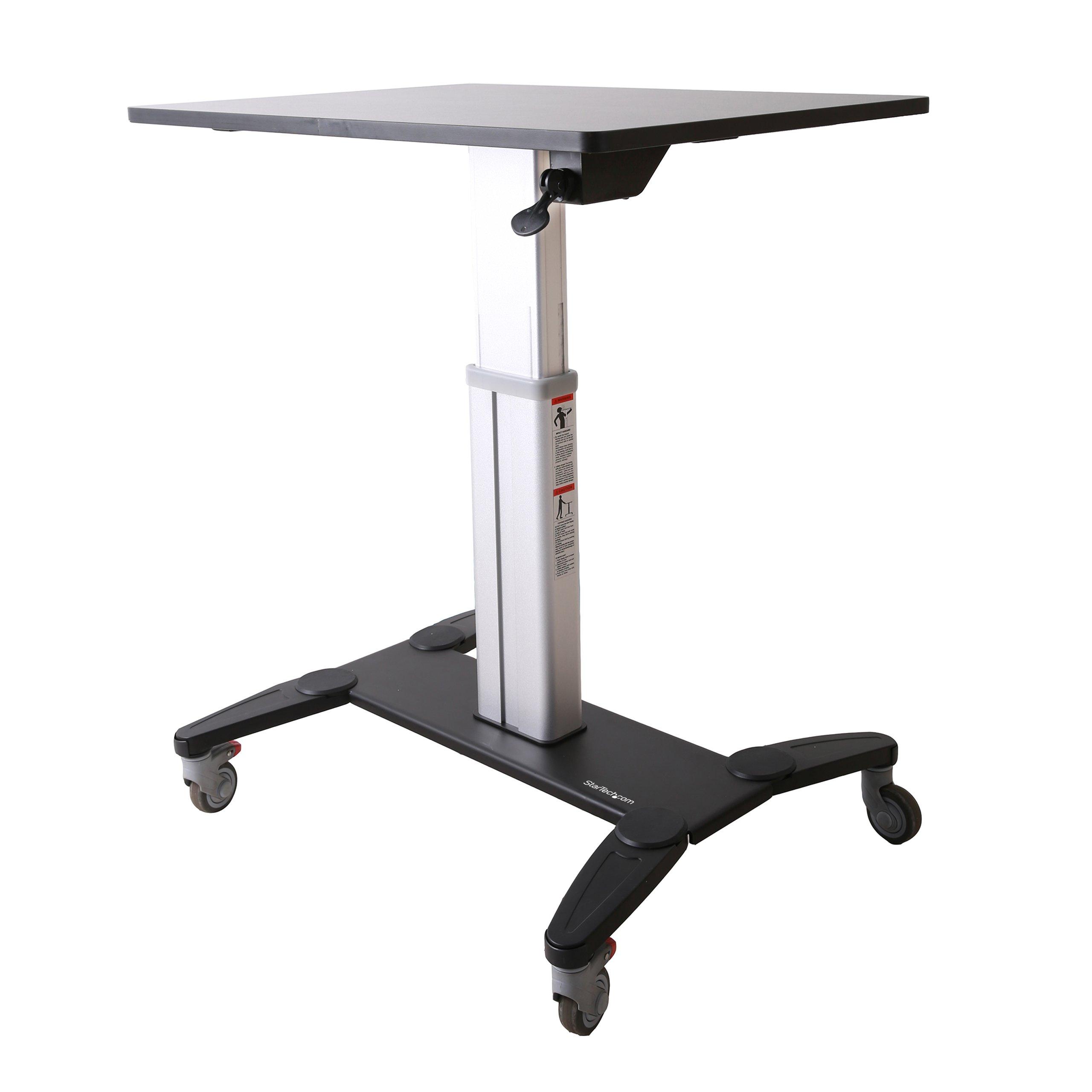 StarTech.com Sit Stand Mobile Workstation - Rolling Desk - One-Touch Height Adjustment with Lock - Standing Desk Converter - Mobile Desk
