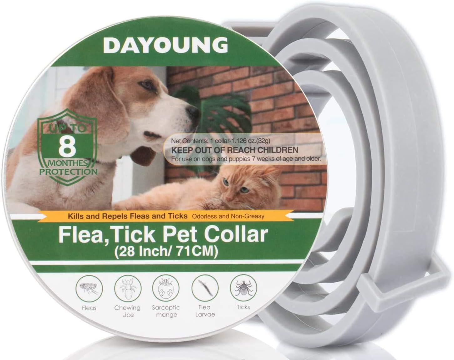 T98 Collar antipulgas y garrapatas para perro y gato, resistente al agua y ajustable, collar antipulgas, aceites vegetales naturales, tratamiento de ...