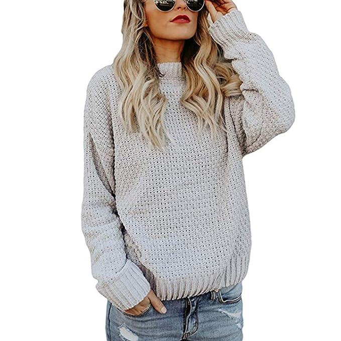 Simple-Fashion Mujeres Otoño y Invierno Suéter Casual Colores Lisos Sweaters  Remata Prendas de Punto Jumper Blusa Suelta Moda Cuello Redondo Manga Larga  ... c8c678bf3786