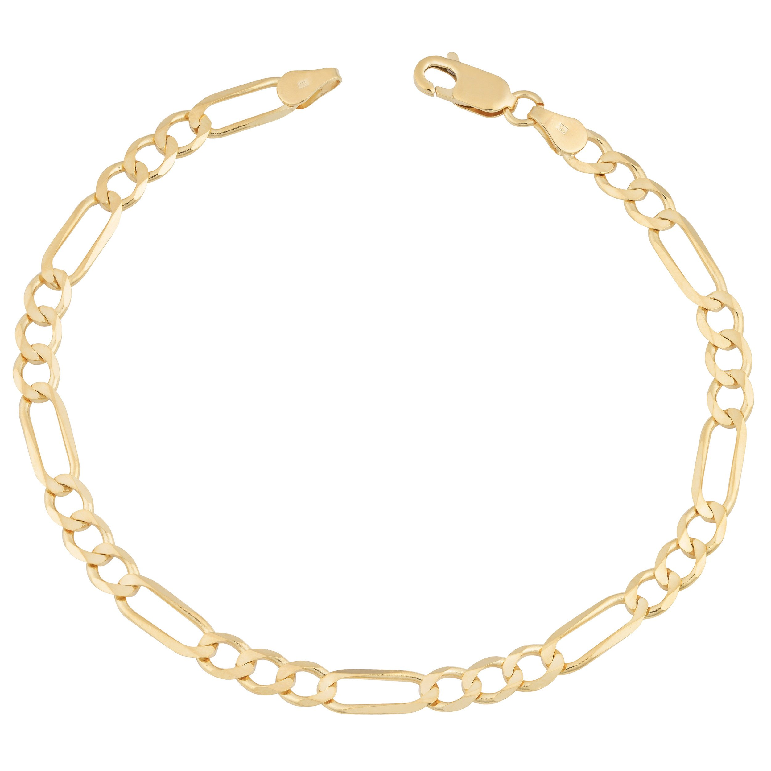 MCS Jewelry 14 Karat Yellow Gold Solid Figaro Chain Anklet Ankle Bracelet 2.7mm 10''
