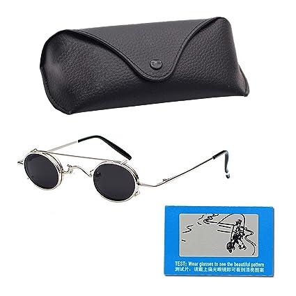 Gafas de sol unisex con marco de metal retro, redondas ...
