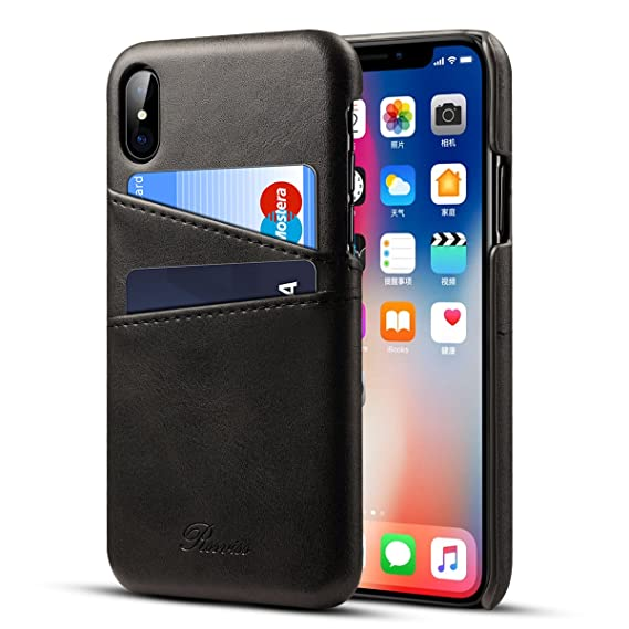 outlet store 11ea6 ec6f5 Rssviss iPhone Xs Wallet Case - iPhone X case, Wallet Phone Case Leather  Slim Back Case Cover with Credit Card Holder for iPhone Xs/X 5.8 inch-Black