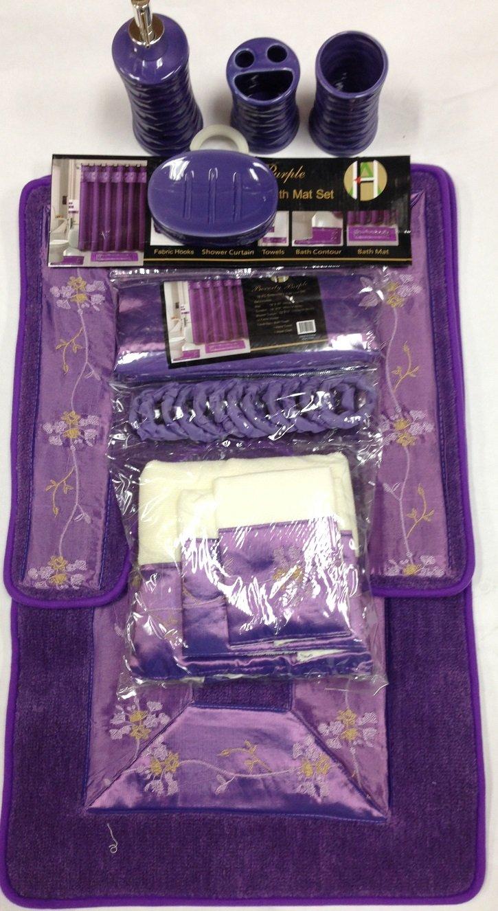 Lavender shower curtain and bath rug set - Amazon Com 22 Piece Bath Accessory Set Purple Flower Bath Rug Set Shower Curtain Accessories Home Kitchen