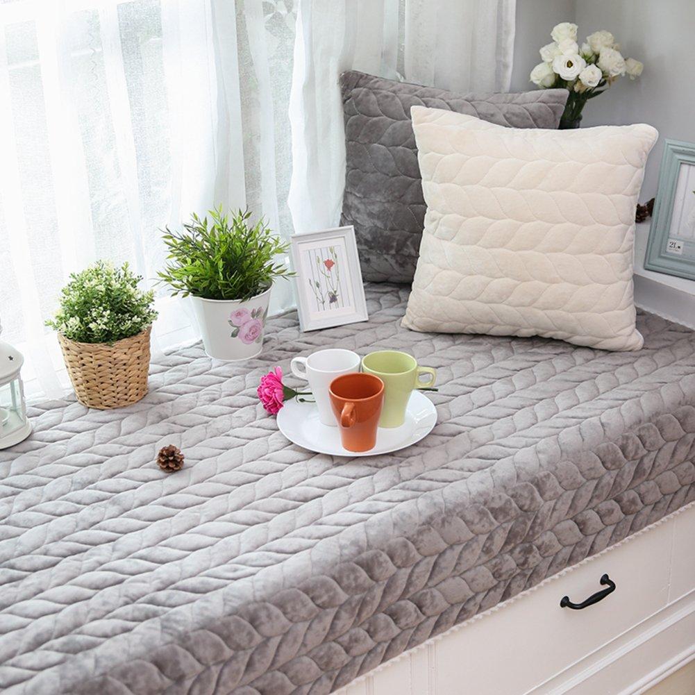 Simple modern solid color bay window cushion padded tatami mats plush seats non-slip balcony blanket sofa slipcovers-D 70x180cm(28x71inch)