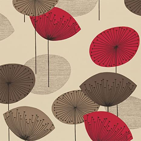 sanderson Wallpaper Dandelion Clocks Brown/Red DOPWDA101: Amazon.co.uk: Kitchen & Home