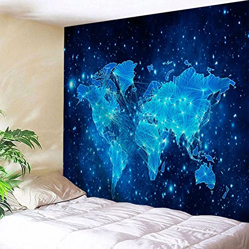 Goodbath Starry Map Tapestry,World Map Space Nebula Galaxy Universe Star Wall Hanging for Bedroom Living Room Dorm, 70 x 90 Inch, Blue