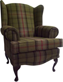 Cottage/Wing Back/ Queen Anne Chair In Balmoral Hunter GreenTartan On QA  Legs