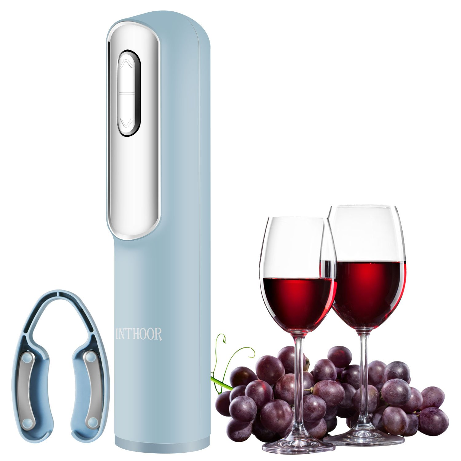 InThoor Electric Wine Opener, Rechargeable Wine Bottle Opener Automatic Corkscrew Openers with Foil Cutter and USB Charging Cable - Blue (bottleopener)