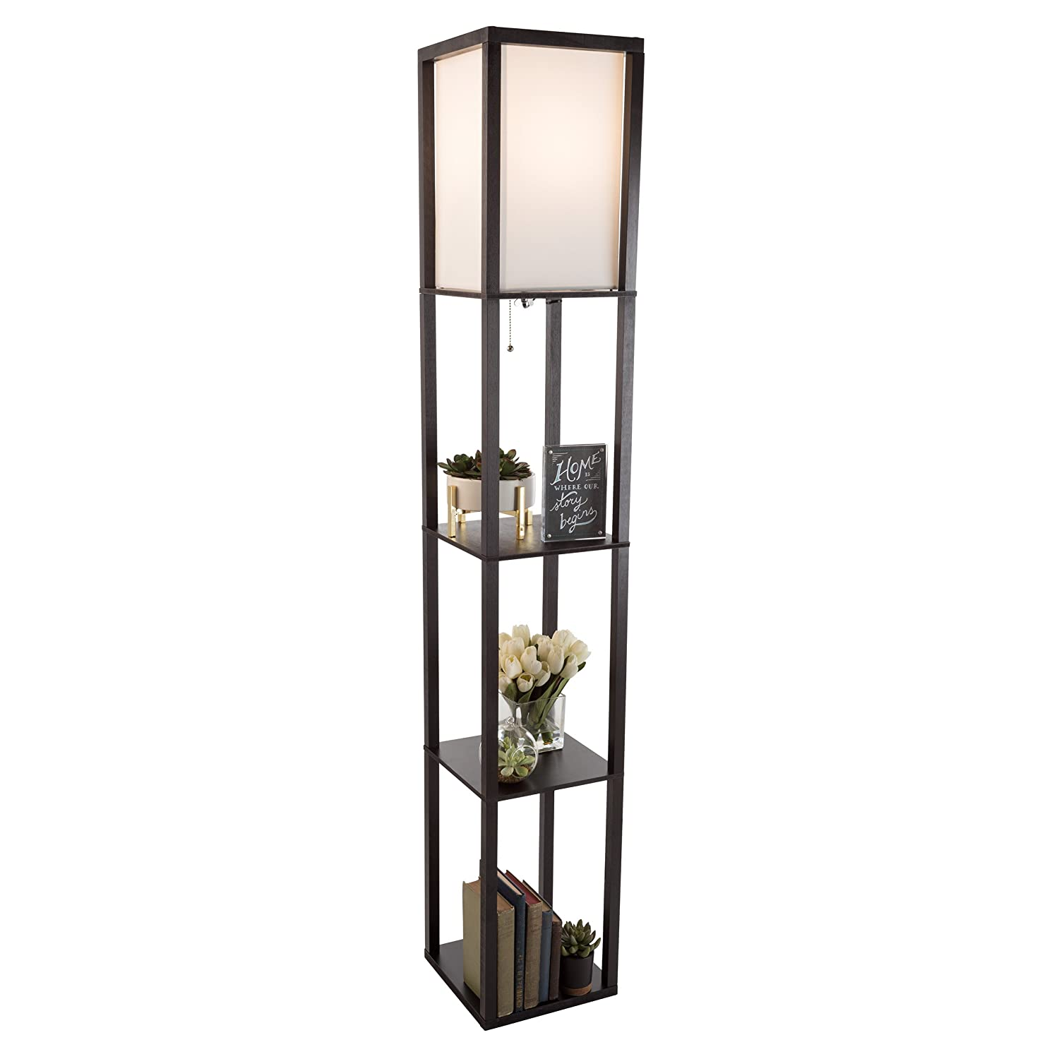 Floor Lamp-Etagere Style Tall Standing with Shade LED Light Bulb Included-3 Tiers Storage Shelving for Accent Decor Organization-by Lavish Home(Black)