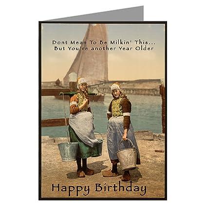 Amazon Single Large Vintage Birthday Card With Dutch Milk