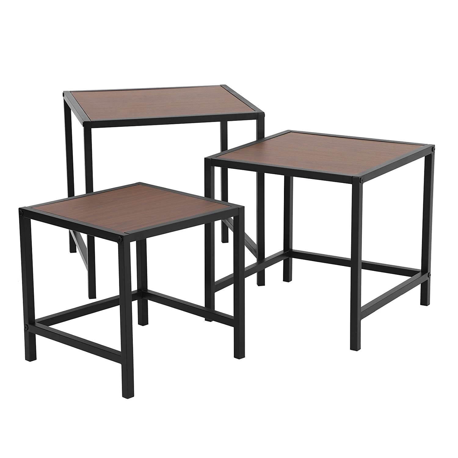 Amazon com songmics nesting coffee table set of 3 for living room end side tables nightstand modern decor for small space sturdy and easy assembly