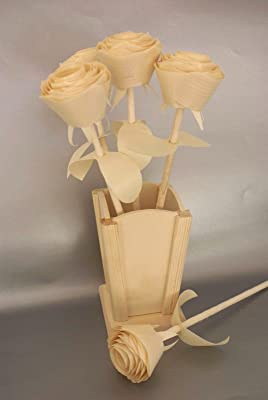 5 Handmade wooden roses and vase for five year wood anniversary, Floral centerpiece, Get well birthday gift