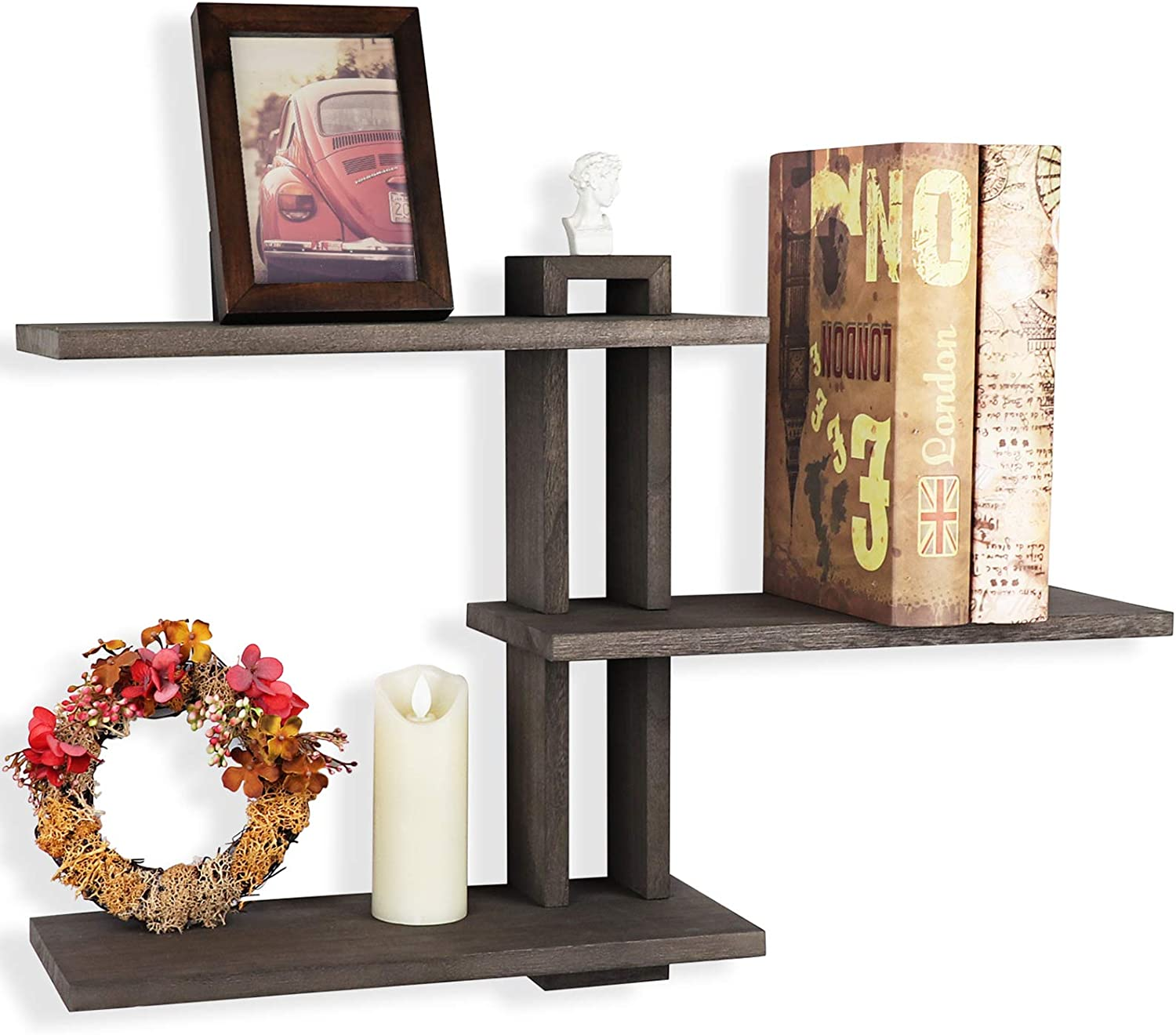 Emfogo Floating Shelves Wall Mounted Rustic Wall Wood Shelves 3 Tier for Decor and Storage at Bedroom Living Room Office Weathered Grey