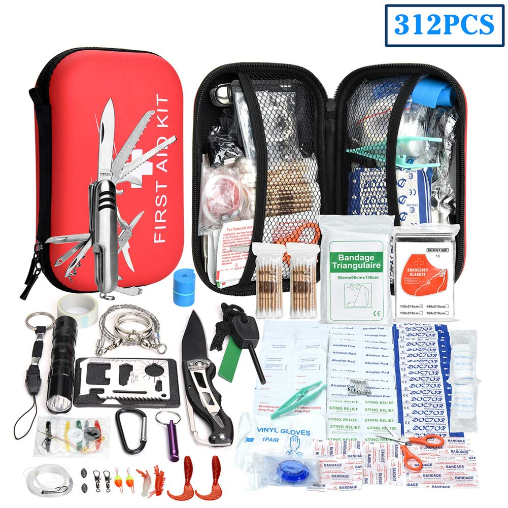XUANLAN Emergency Survival Kit 13 in 1, Outdoor Survival Gear Tool with Survival Bracelet, Fire Starter, Whistle, Wood Cutter, Water Bottle Clip, Tactical Pen (Survival Kit 5) by XUANLAN