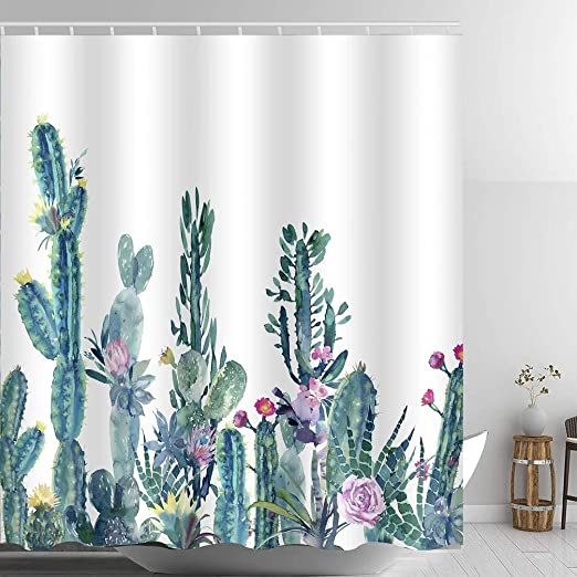 Customize Waterproof Fabric Tropical Cactus Bathroom Shower Curtain Liner Hooks