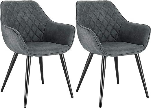 WOLTU Esszimmerstühle BH231gr 2 2er Set Küchenstühle Wohnzimmerstuhl Polsterstuhl Design Stuhl mit Armlehne Stoffbezug Gestell aus Stahl Grau