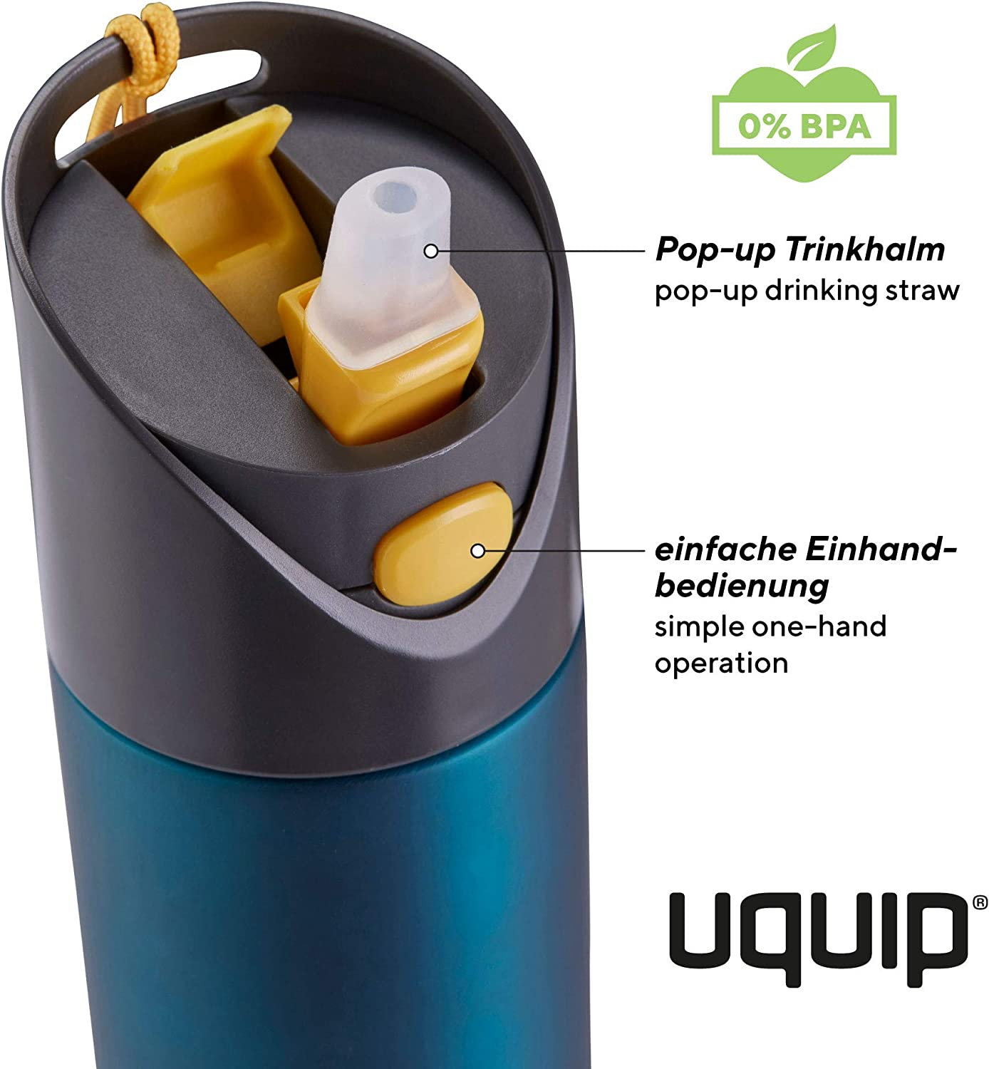 Uquip Activity Steel Outdoor Bottle 24 oz Water Flask BPA-Free Leakproof for Bike and Sport
