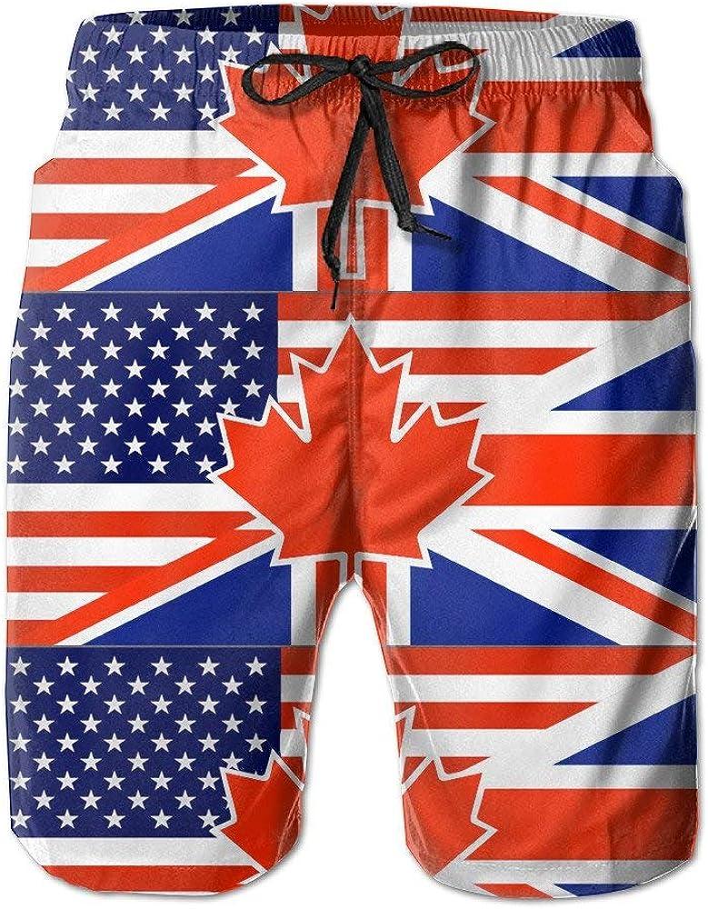 North American British Flag Casual Mens Swim Trunk Beach Shorts