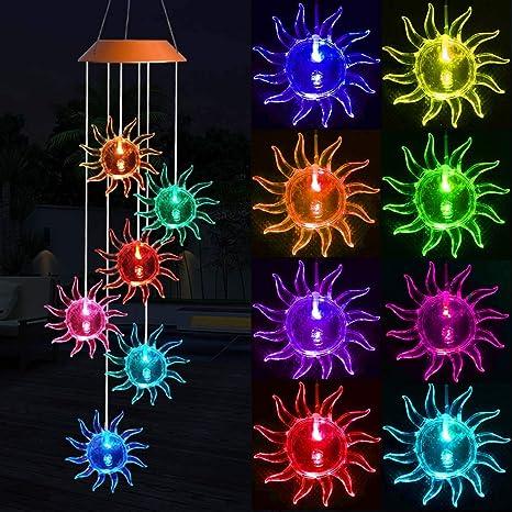 Solar Sunflower Wind Chimes, Waterproof Romantic LED