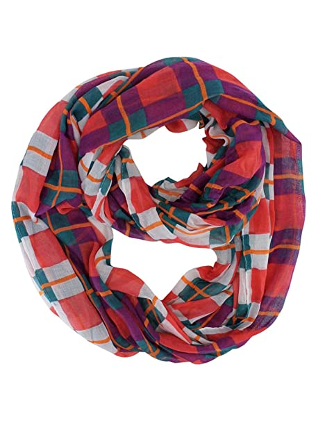 174f861fbfe51 Hot Pink Fuchsia Turquoise Plaid Print Infinity Scarf at Amazon Women's  Clothing store: