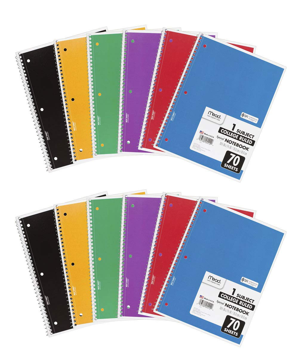 Mead IUYEHDUH Spiral Notebooks, 1 Subject, College Ruled Paper, 70 Sheets, 10-1/2'' x 7-1/2'', Assorted Colors, 6 Pack (73065) 12 Pack