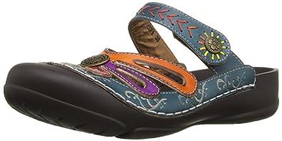 L'Artiste by Spring Step Women's Copa Flat Sandal, Blue/Multi, 35