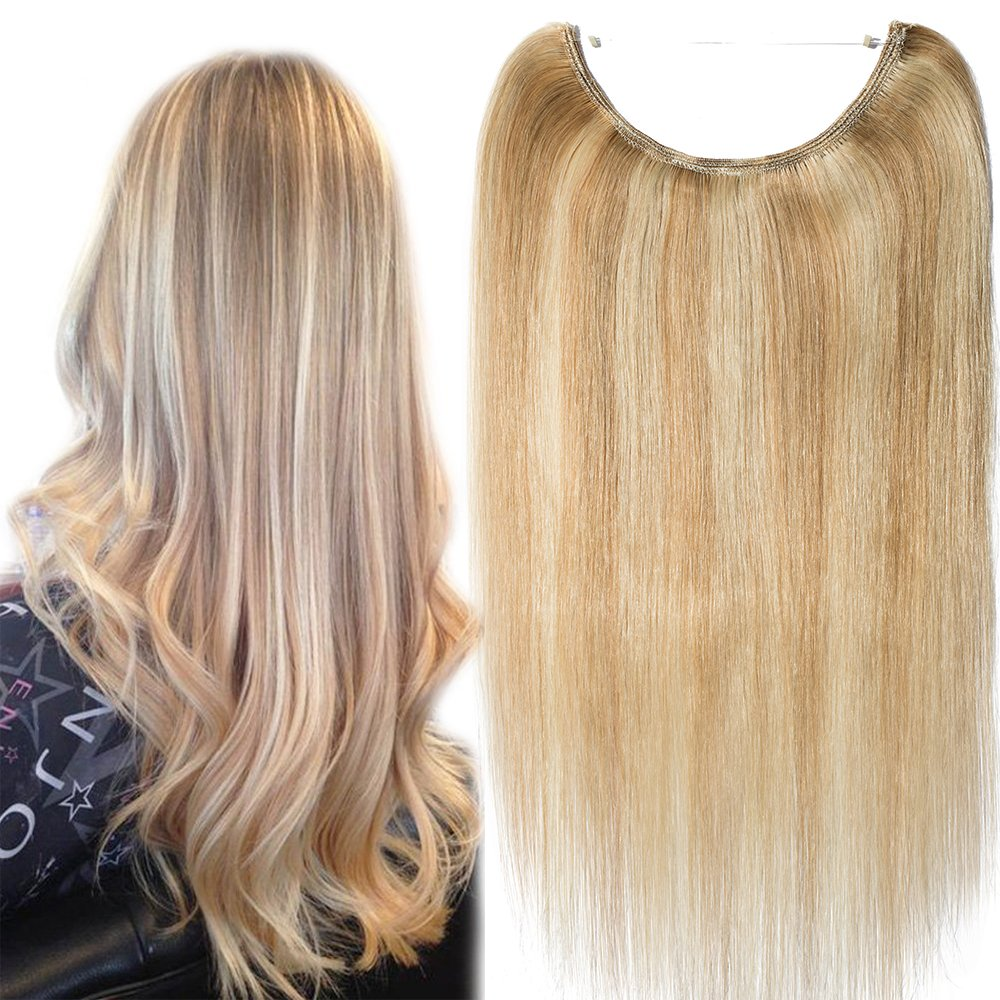 One Piece Wire In Human Hair Extensions Secret Invisible No Clips