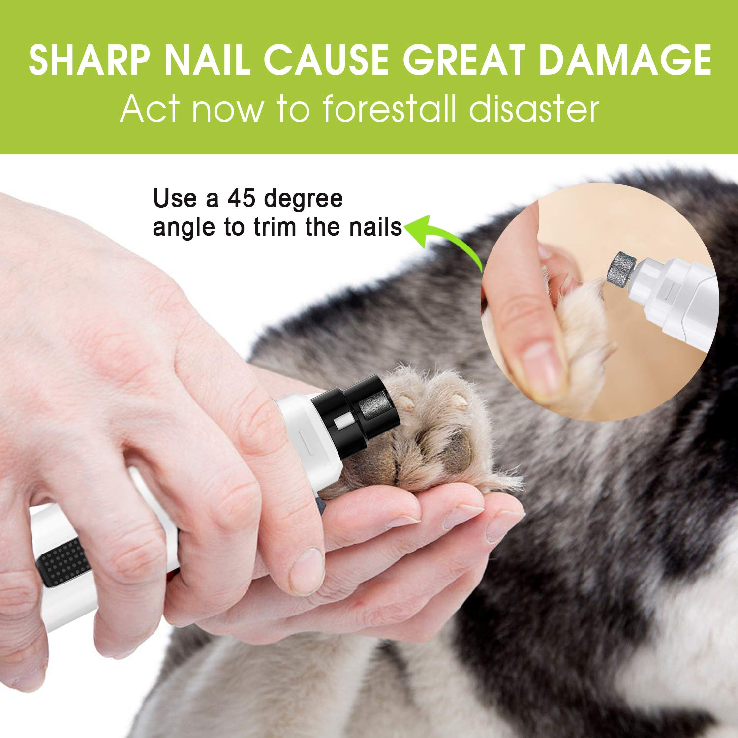 Amazon.com: TURN RAISE Dog Nail Grinder, Upgraded 2-Speed ...