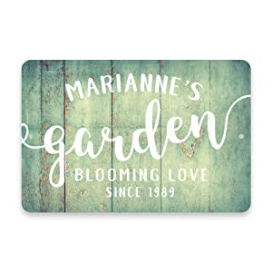 Personalized Mint Rustic Garden Blooming Love Metal Room Sign