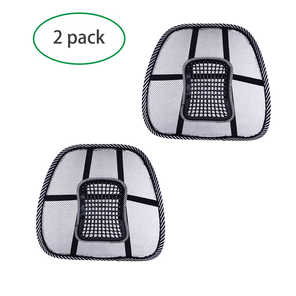 2 Comfortable Adjustable Breathable Mesh Lumbar Back Support Office Home Car Seat Chair Cushion Cool