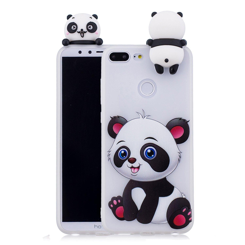 Yobby 3D Animal Dessin Animé Coque Huawei Honor 9 Lite, Coque Ultra Fine Mignon Kawaii Motif Étui Slim Doux Souple Caoutchouc Silicone Antichoc Housse Protection-Panda Rouge Arc