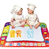 ANCHEER Large Size Kids Water Drawing Mat Writing Painting Board 2 Magical Pen Scribble Boards Toy 80x60cm