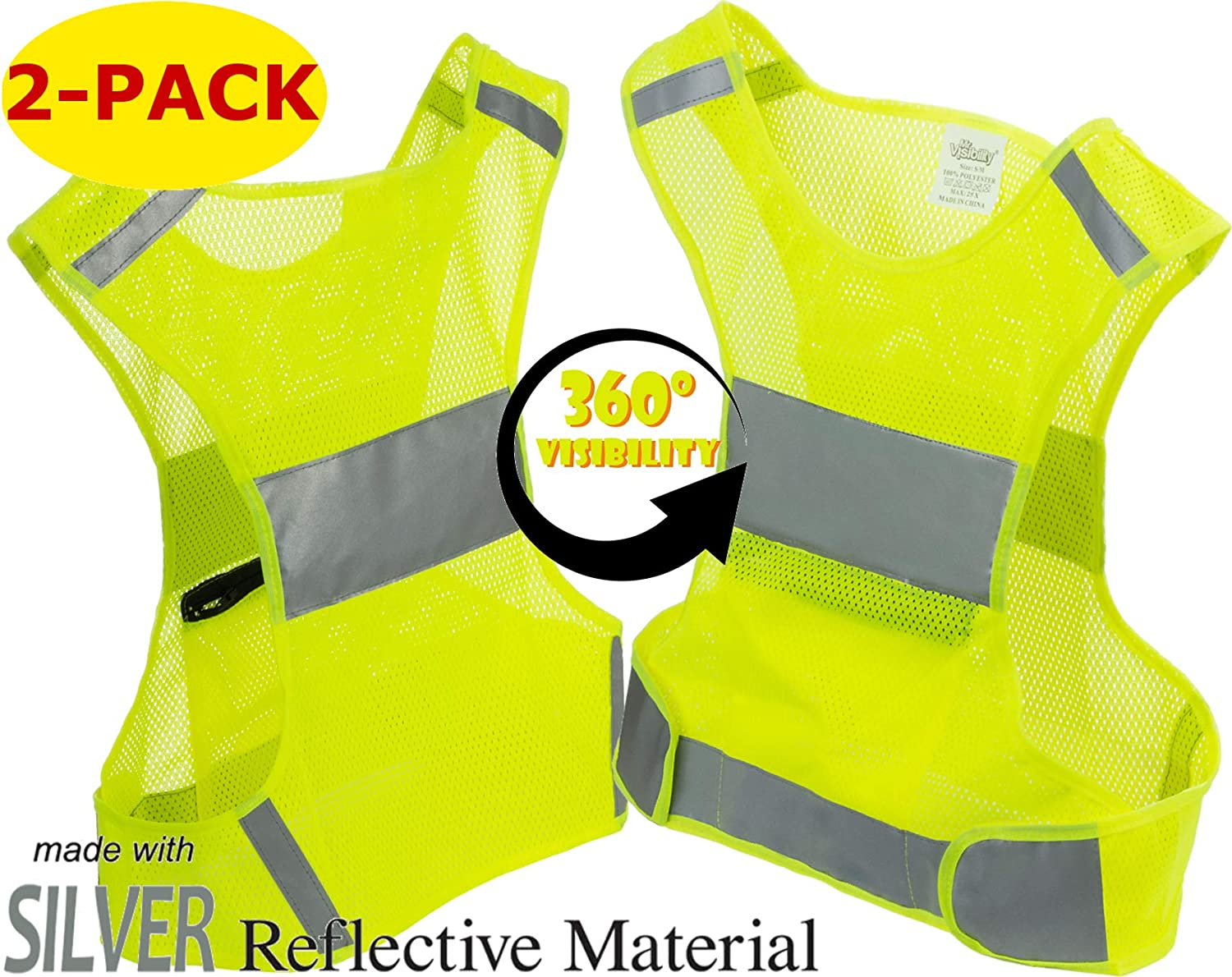 FaitPourU 3 Pack Reflective Vest,Elastic and Adjustable Reflective Gear for Walking,Jogging,Running,Motorcycle,Cycling,360 /º Fluorescent Visibility