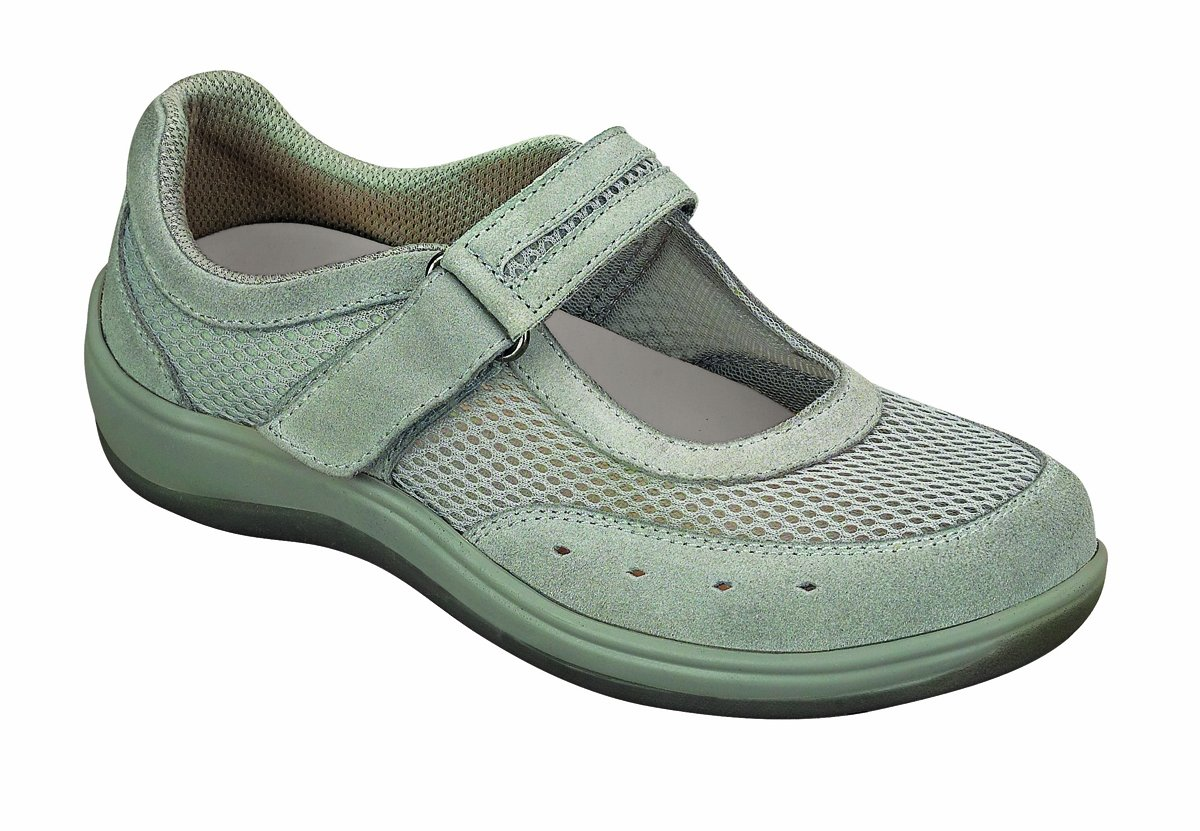 Orthofeet 853 Women's Comfort Diabetic Therapeutic Extra Depth Shoe Grey 7.5 Medium (C) Velcro