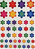 Colorful Flower Stickers - Decorative flowers shaped sticker for arts and crafts in many colors - Permanent adhesive - 210 Pack - By Royal Green