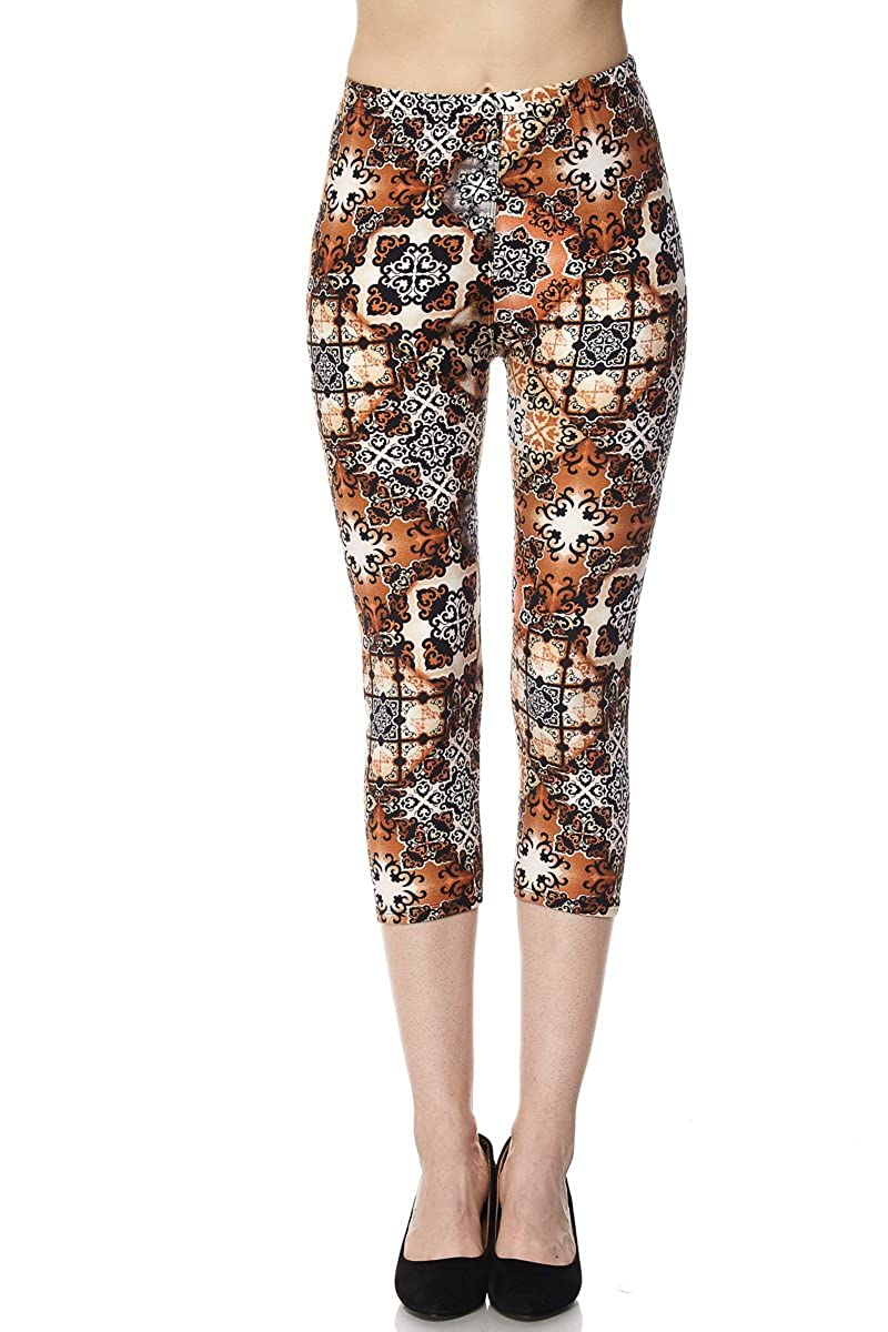 New Mix By Muskoka Multi Pattern Print Capri Leggings