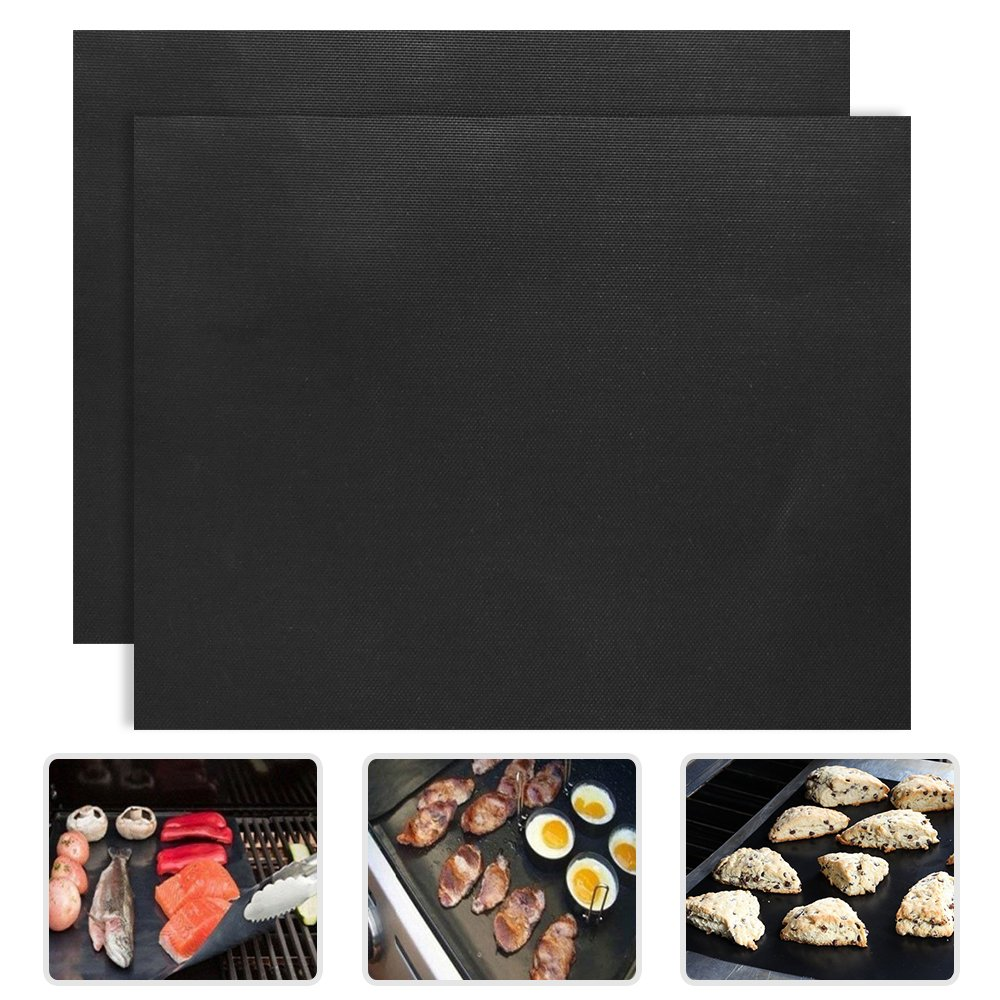 "2 Piece of (15.75""x 13"") BBQ Grill Mat-Nonstick, Reusable and Dishwasher Safe"